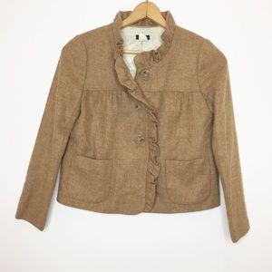 J.Crew camel 100% wool blazer cropped ruffles 2